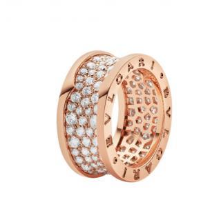 Bvlgari 18K Rose Gold Pave Diamond B.Zero1 Ring