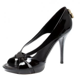 Louis Vuitton Patent Leather Cut-Out Padlock Sandals
