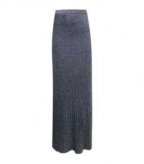 Missoni Grey Lurex Knit Ribbed Maxi Skirt