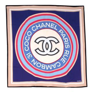 Chanel Rue Cambon CC Print Silk Square Scarf