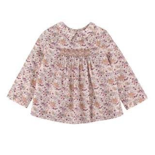 Bonpoint Beige Floral Cotton Blouse w/ Peter Pan Collar