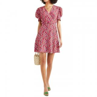 Saloni Lea Floral-Print Silk Crepe De Chine Mini Dress