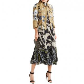 Erdem Cream Floral Embroidered Cotton Peplum Shari Jacket