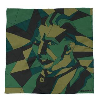 Turnbull & Asser Green Geometric Pattern Silk Pocket Square