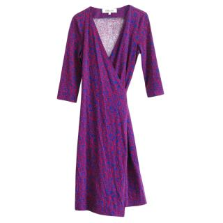 DVF Blue & Red Printed Silk Wrap Dress