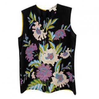 DVF Black Silk Floral Sleeveless Top