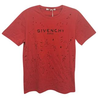 Givenchy Red Destroyed Logo Print T-Shirt