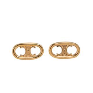 Celine Gold Tone Maillon Triomphe Logo Earrings
