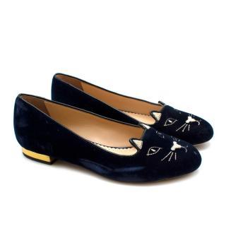 Charlotte Olympia Navy Velvet Kitty Flats- Size 34.5