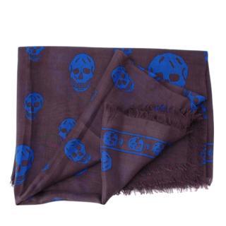 Alexander McQueen Grey & Blue Silk Blend Scarf