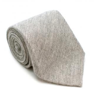 D'Avino Napoli Grey Cashmere Handmade Tie