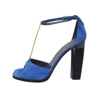 Celine Blue Suede T-Bar Sandals