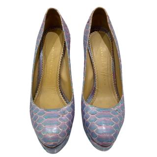 Charlotte Olympia Lilac Python Dolly Pumps