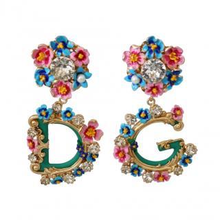 Dolce & Gabbana Floral Crystal Embellished DG Earrings