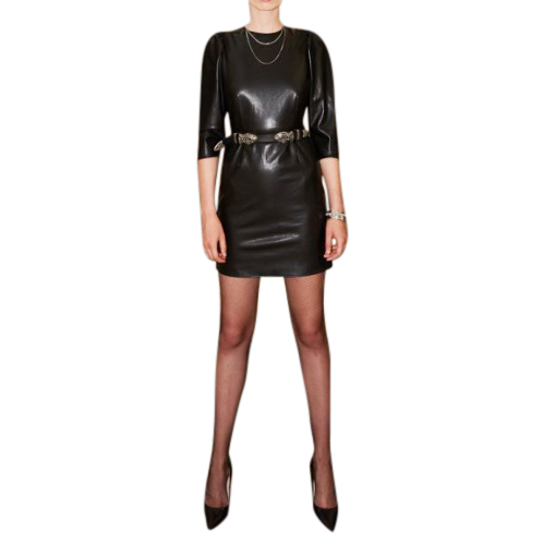 The Kooples Faux Leather Crew Neck Dress