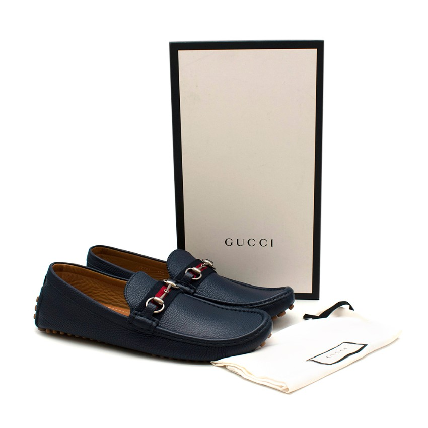 Gucci Navy Damo Horsebit Leather Driving Shoes- Size 46.5