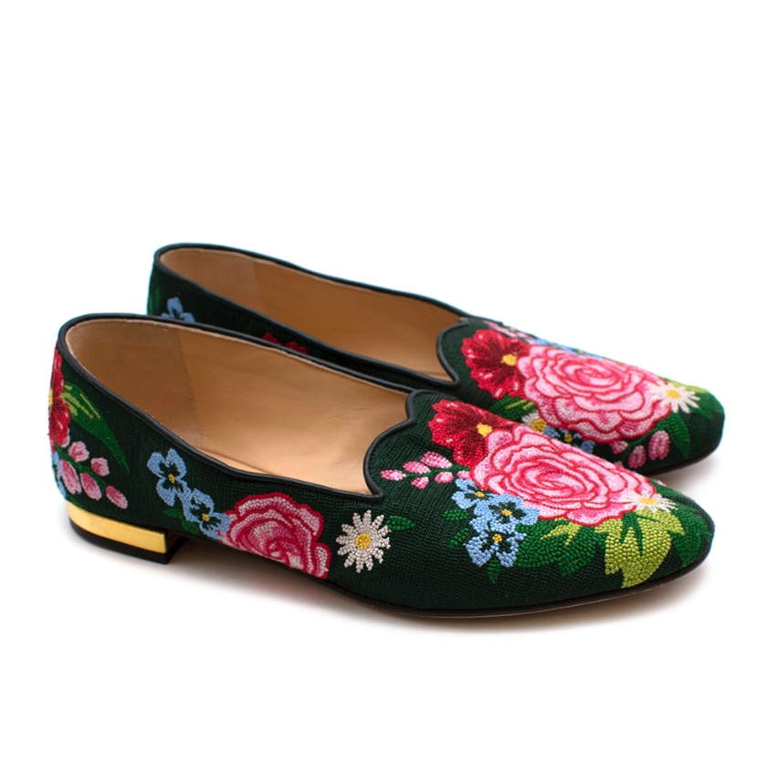Charlotte Olympia Green & Pink Floral Embroidered Loafers - Size 34