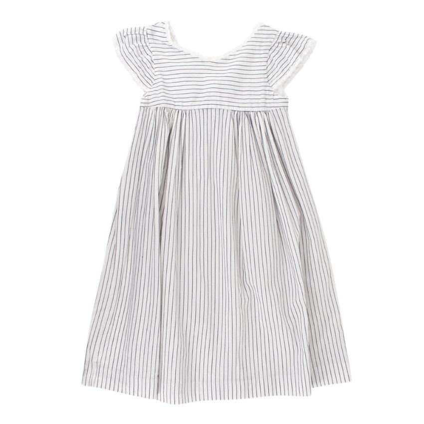 Bonpoint White Striped Lace Trimmed Cotton Dress