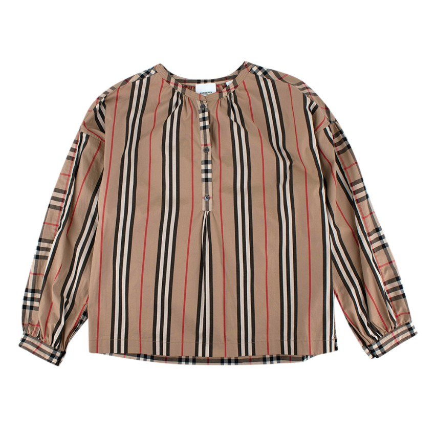 Burberry Kids Icon Stripe and Vintage Check Cotton Blouse