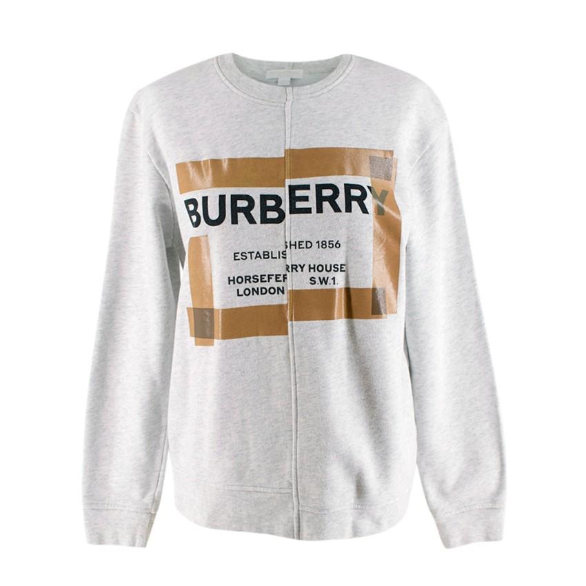 Burberry Kids Grey Cotton Horseferry Logo Print Jumper