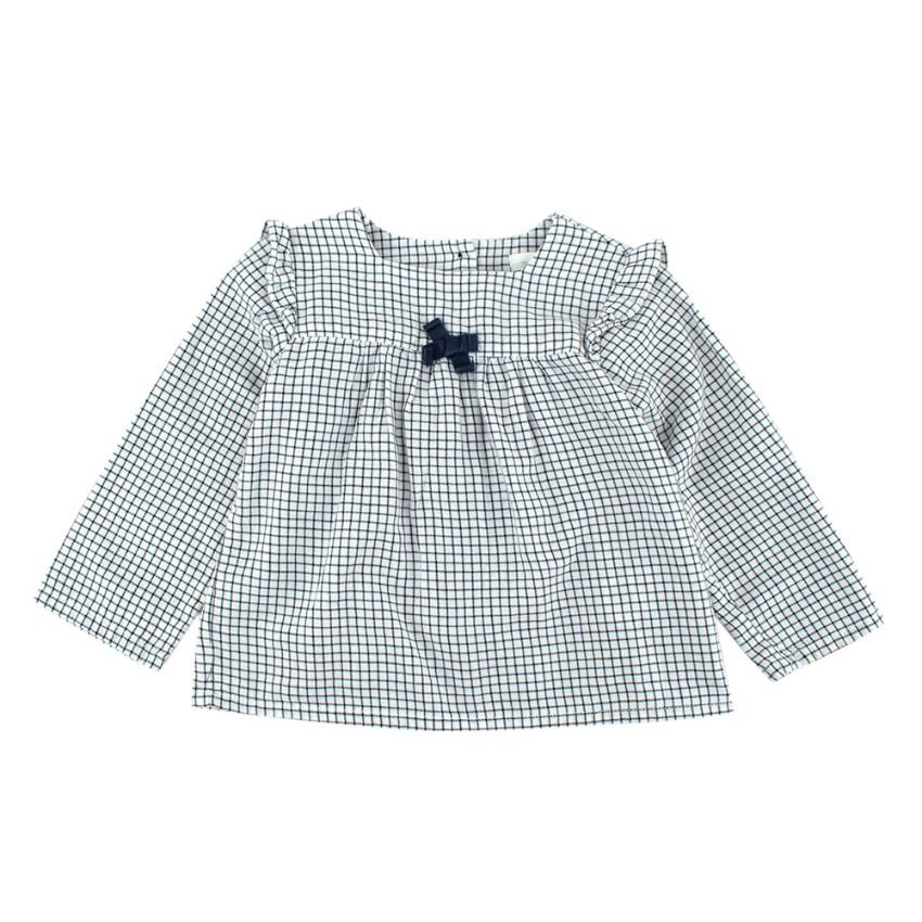 Marie Chantal White/Navy Check Cotton Long Sleeve Shirt