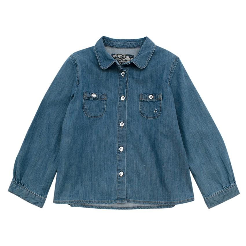 Bonpoint Blue Denim Long Sleeve Collared Shirt
