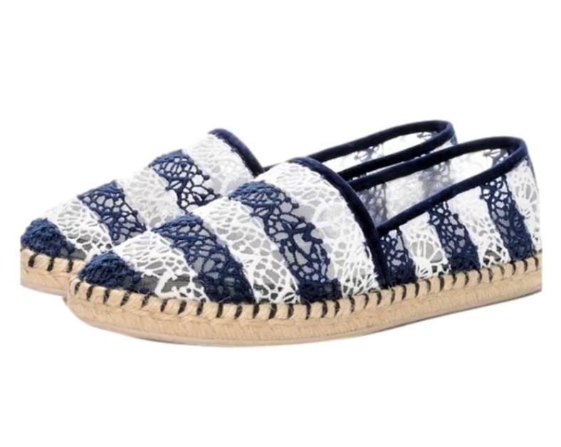Louis Vuitton Blue & White Striped Lace Espadrilles