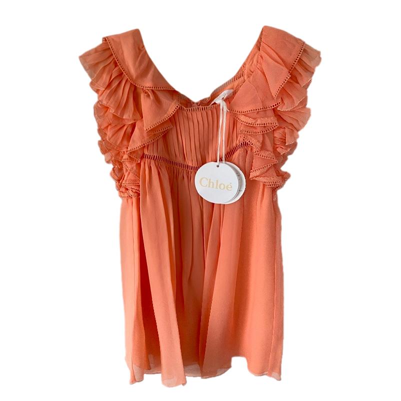 Chloe Kid's 6Y Washed Pink Ruffle Chiffon Dress