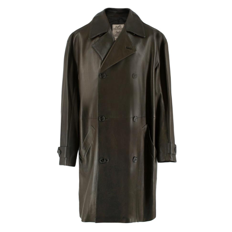 Hermes Brown Lambskin Double Breasted Coat