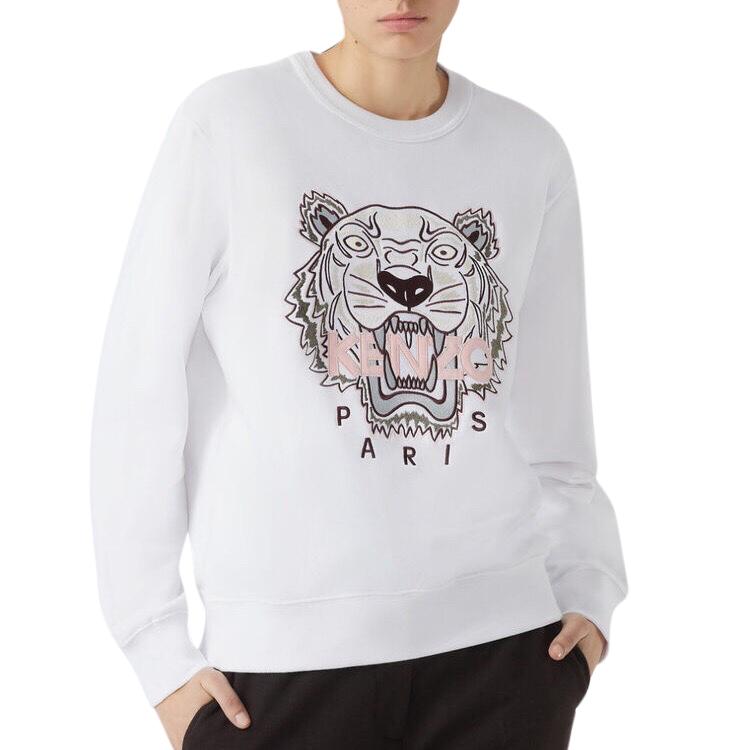 Kenzo Tiger Embroidered White Sweatshirt