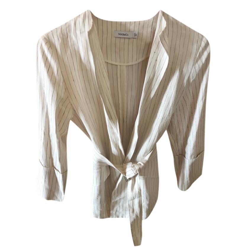 Max & Co. Linen Striped Wrap Jacket