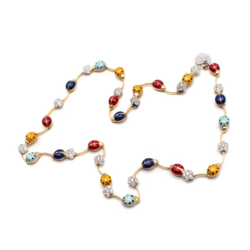 Aaron Basha Ladybird & Diamond 18kt Yellow Gold Necklace
