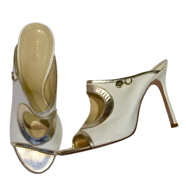 Versace White & Gold Cut-Out Mules