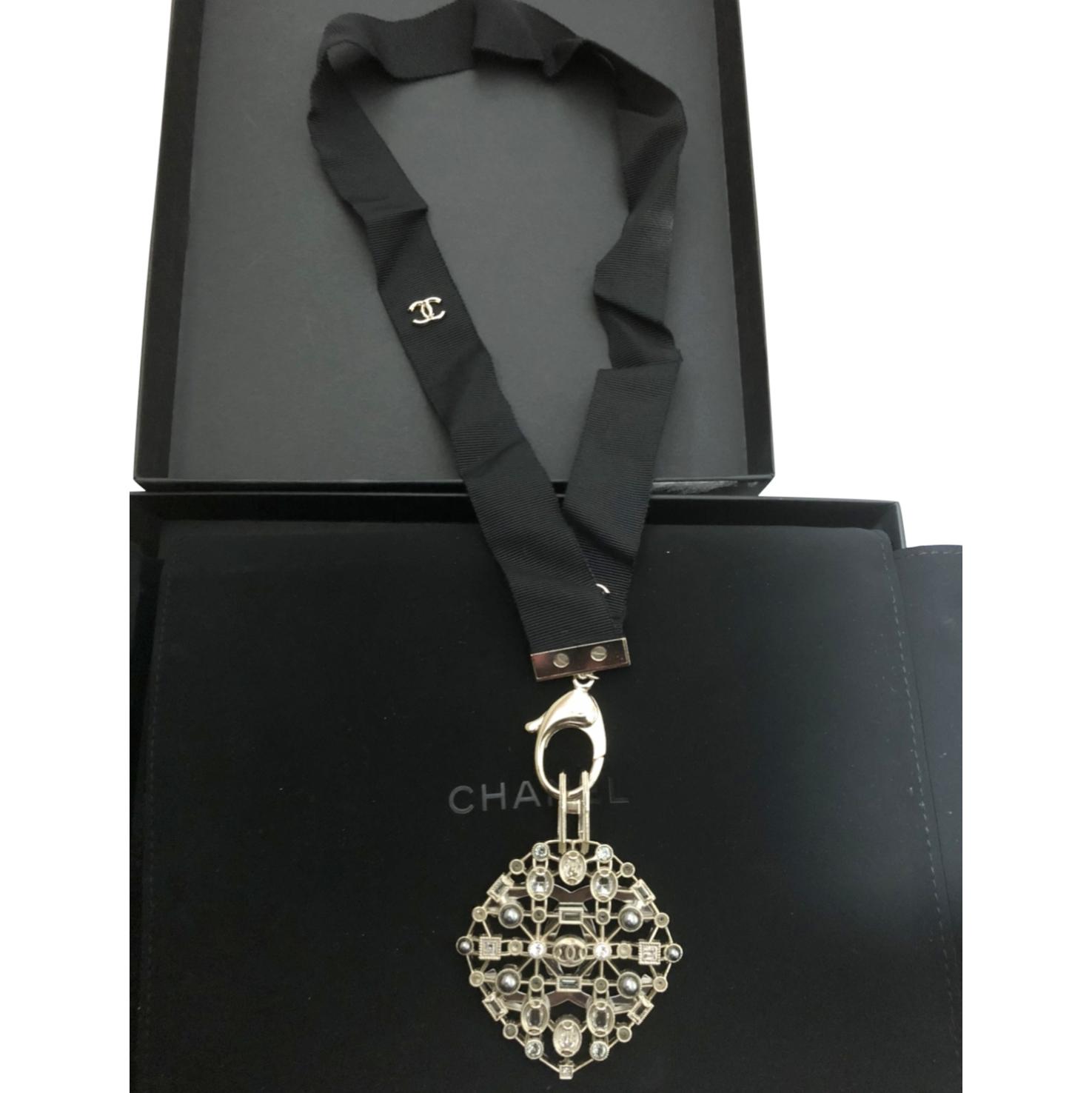 Chanel Crystal Embellished Detachable Pendant Ribbon Necklace