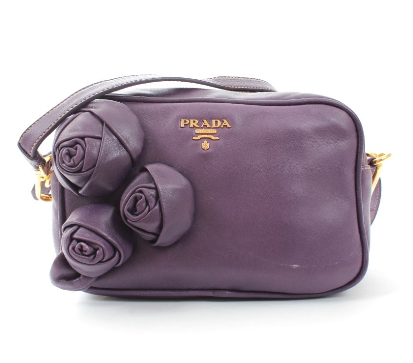Prada Violet Nappa Leather Floral Applique Crossbody Bag