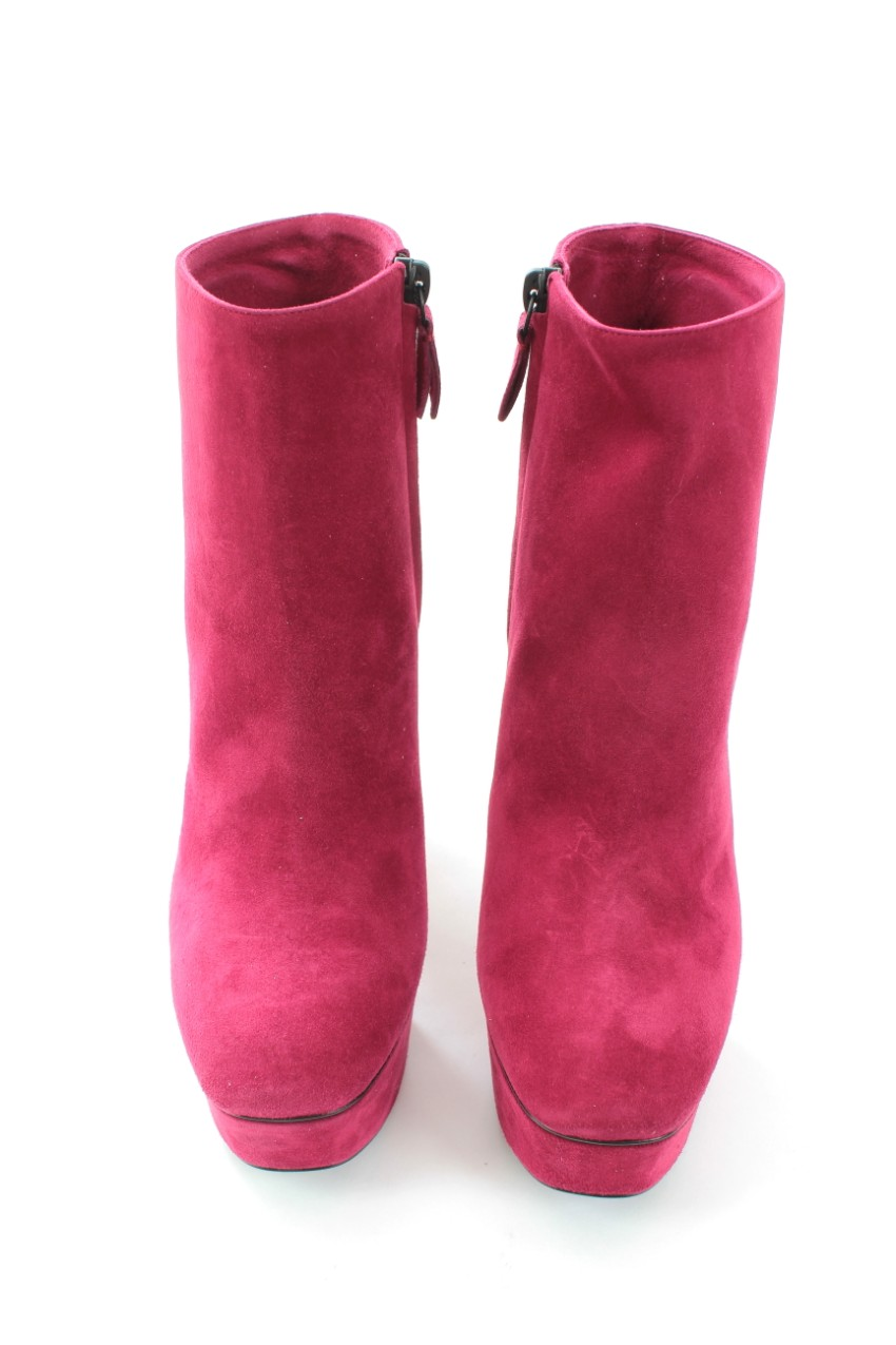 Casadei pink suede platform ankle boots