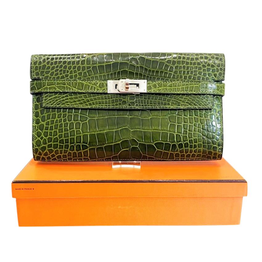 Hermes Vert Perlouse Lisse Alligator Mississippiensis Kelly Wallet PHW