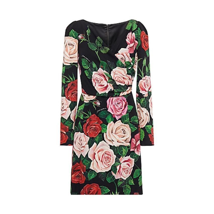Dolce & Gabbana Black Rose Print Mini Dress
