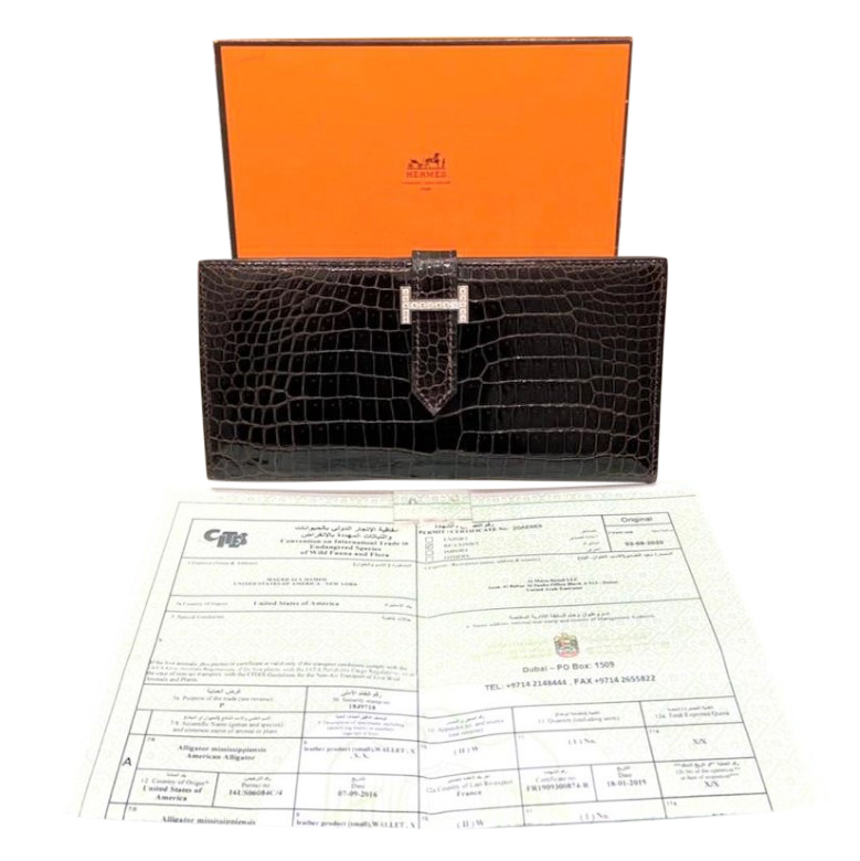 Hermes Havane Porosus Crocodile Bearn Wallet w/ 18kt gold/diamond HW