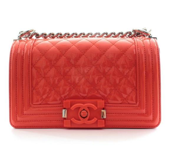 Chanel Cruise Collection Patent Orange Boy Bag