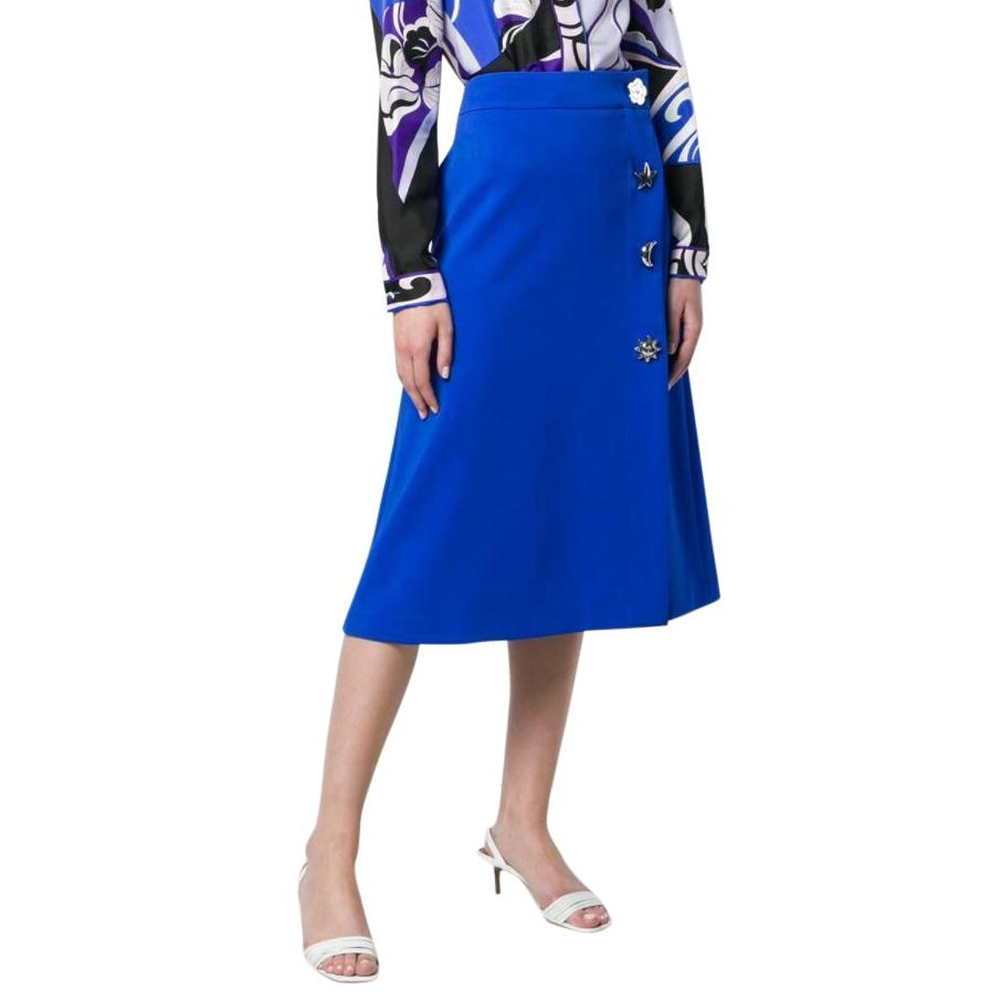 Emilio Pucci Blue Embellished Midi Skirt