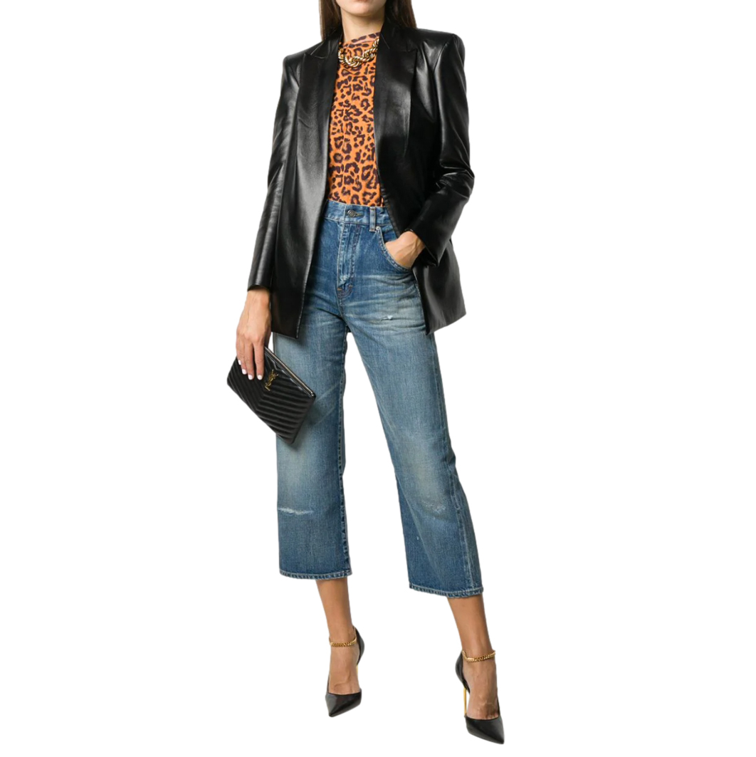 Saint Laurent Blue Cropped High-Rise Straight Leg Jeans