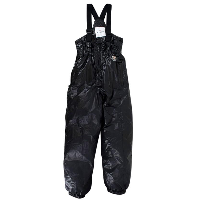 Moncler Kids Black Nylon Down Ski Trousers