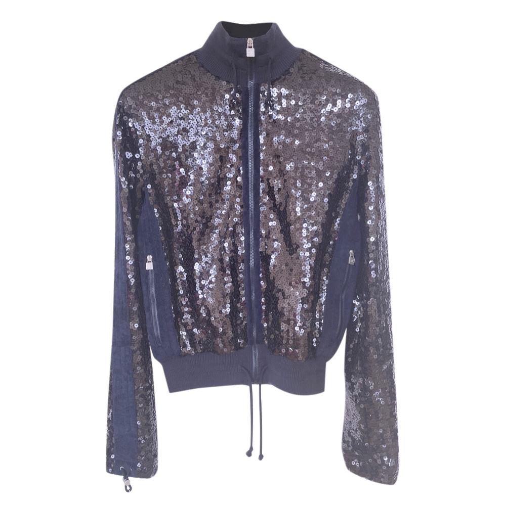 Chanel Trendy Blue Sequin Embellished Jacket