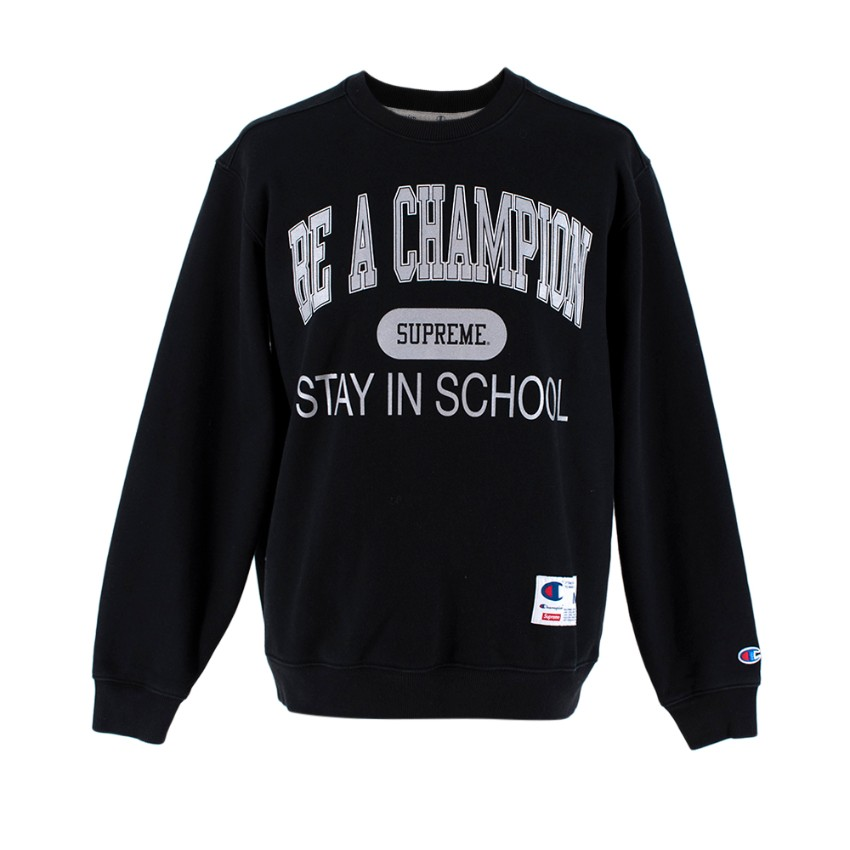 Supreme x Champion Black 'Stay In School' Sweatshirt
