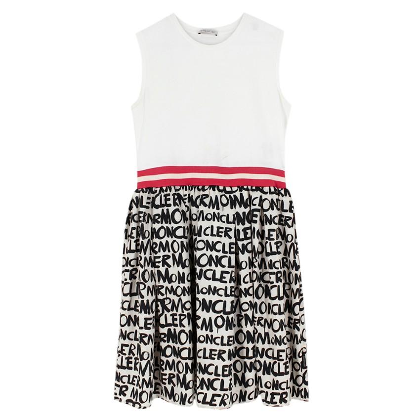 Moncler Girls Ivory Logo Sleeveless Dress
