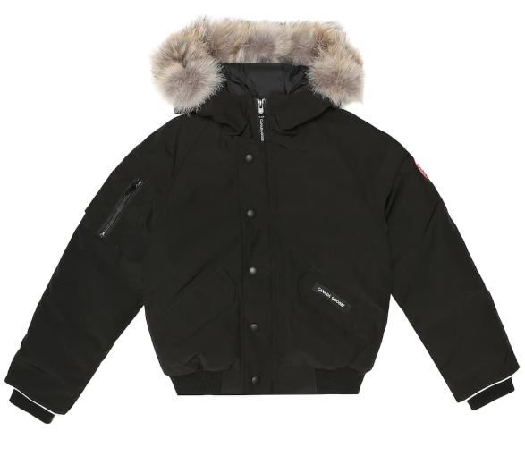 Canada Goose Youth Black Rundle Bomber Jacket w/ Coyote Fur