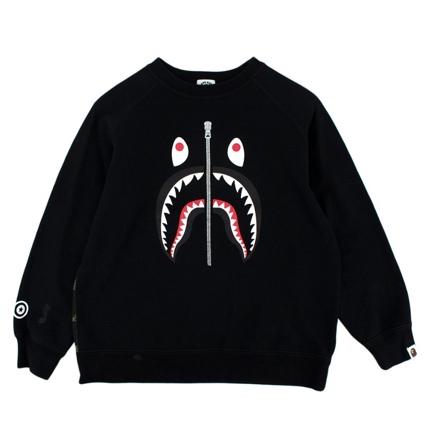 Bathing Ape Kids Black & Camo Cotton Shark Printed Jumper