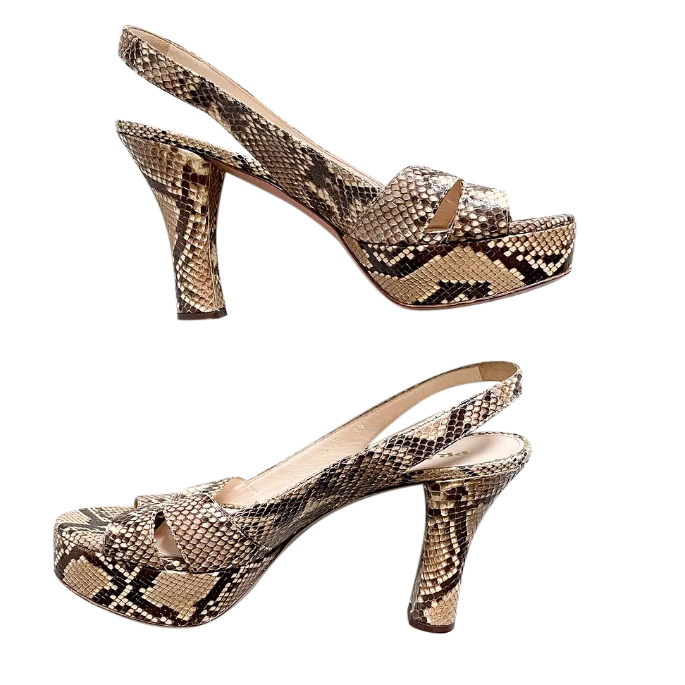 Prada Snakeskin Slingback Sandals