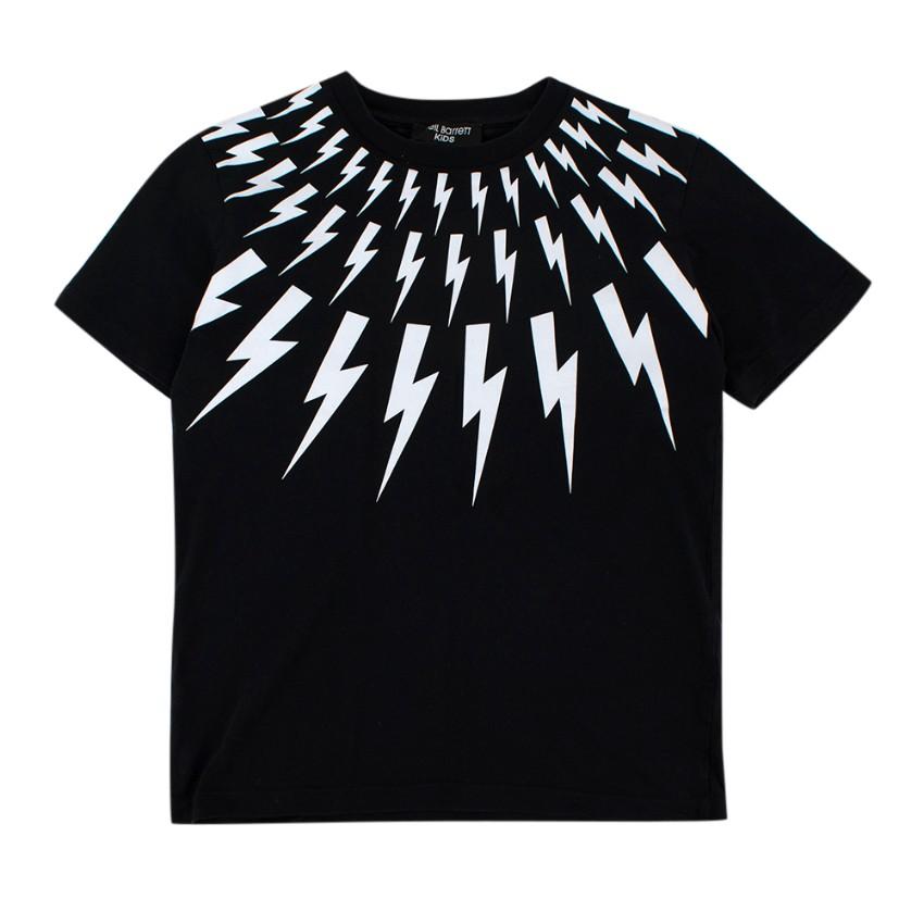 Neil Barrett Kids Black & White Cotton Lightning Bolt T-Shirt
